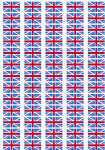 Great Britain Claret and Blue Flag Stickers - 65 per sheet